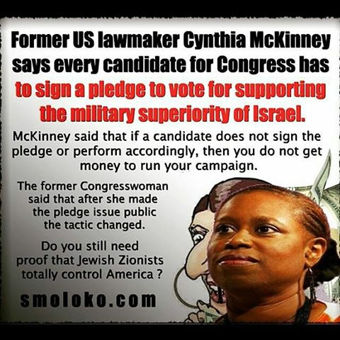 "Image result for Cynthia McKinney Drops Bombshell: Candidates to sign pledges of support for ""Israel"""