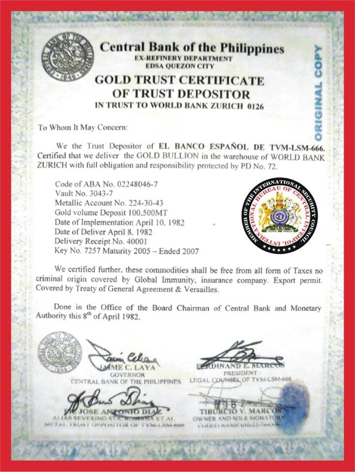 Bureau Of Central Interpol 100500 Metric Tons Gold Deposited In